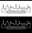 copenhagen skyline linear style editable file vector image vector image