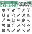 design tools glyph icon set graphic design signs vector image vector image