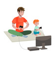 father and son playing video game vector image vector image