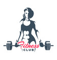 fitness club logo woman holds barbell on white vector image