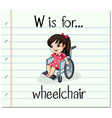 Flashcard letter W is for wheelchair vector image vector image