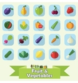Fruit and vegetable flat icon set vector image
