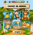 Game template with wild animal characters vector image vector image