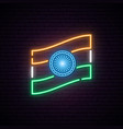 glowing neon sign with indian flag vector image vector image