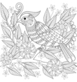 Hand drawn zentangle bird sitting on blooming tree vector image vector image