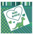 Happy birthday dinosaur card vector image vector image