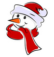 happy snowman with red scarf on white background vector image vector image