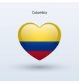 Love Colombia symbol Heart flag icon vector image