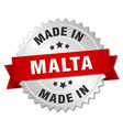 made in Malta silver badge with red ribbon vector image vector image