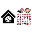 Meter Building Flat Icon with Bonus vector image vector image