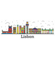 outline lisbon portugal city skyline with color vector image vector image