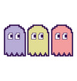 pixel character ghosts retro game arcade vector image