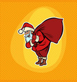 santa claus with a bag gifts comic cartoon pop vector image vector image