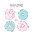 Set of Hand drawn donuts isolated in Sweet vector image vector image