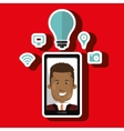 Smart phone and man isolated icon design vector image vector image