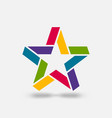 star ribbon symbol in rainbow colors vector image vector image