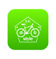 sv bike style icon green vector image