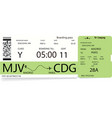 template of a boarding pass ticket vector image vector image