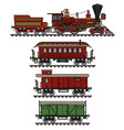 the vintage american steam train vector image vector image