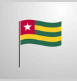togo waving flag vector image vector image