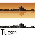Tucson skyline in orange background vector image vector image