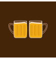 Two beer glasses mug with foam cap froth bubble vector image