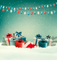 Winter christmas background with gifts and a vector image vector image