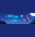 witches night cartoon banner halloween holiday vector image vector image