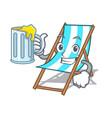 with juice beach chair mascot cartoon vector image