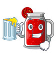 with juice tasty tomato juice on cartoon table vector image