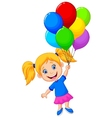 Young girl cartoon flying with balloon vector image vector image