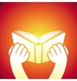 book icon - hands holding textbook vector image