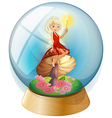 A fairy inside a crystal ball vector image vector image