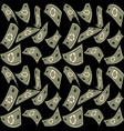 abstract banknotes circling on a black background vector image