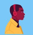 african man listen to music on headphones vector image vector image