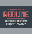 alphabet and font red line with shadow vector image vector image