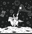 astronaut ride unicorn vector image vector image