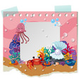 border template with cute animals underwater vector image