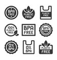 bpa plastic free icons set on white background vector image vector image