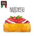 Bruschetta with tomato bacon and basil vector image