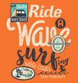 california wave rider surfing kid vector image vector image