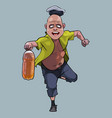 cartoon funny man running with a plastic bottle vector image vector image