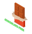 chocolate allergen free icon isometric style vector image vector image