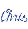 chris name lettering tinsels vector image vector image