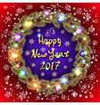 Christmas happy new year 2017 gold wreath red and