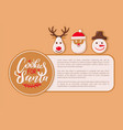 cookie for santa claus poster with text sample vector image vector image