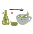 cute green tea matcha set vector image vector image