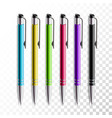 design set of realistic colored pen on transparent vector image