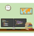 double monitor with code program programming on vector image vector image