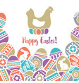 easter card with frame of color easter eggs vector image vector image